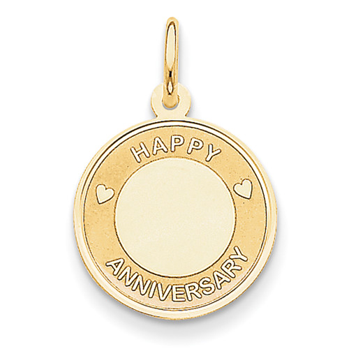 Lex & Lu 14k Yellow Gold Happy Anniversary Charm-Lex & Lu