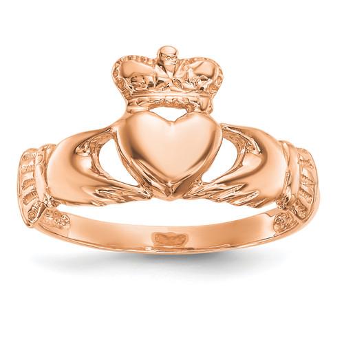 Lex & Lu 14k Rose Gold Polished Claddagh Ring Size 7 - Lex & Lu
