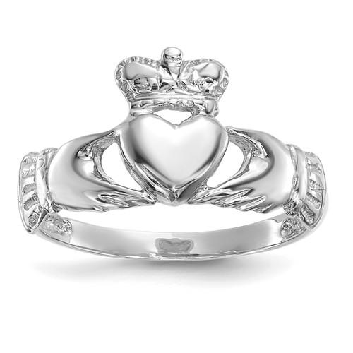 Lex & Lu 14k White Gold Polished Claddagh Ring Size 7 - Lex & Lu