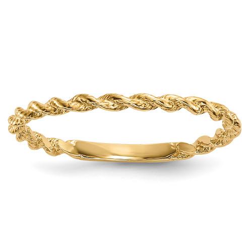 Lex & Lu 14k Yellow Gold Polished Twisted Rope Ring -Lex & Lu