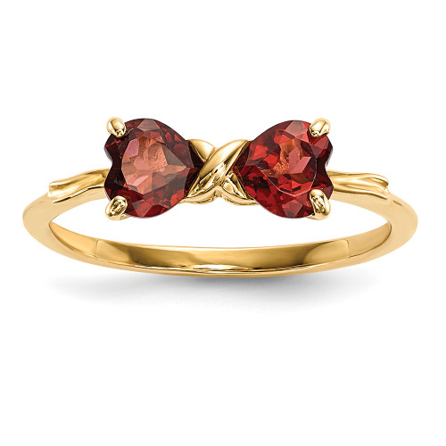 Lex & Lu 14k Gold Polished Garnet Bow Ring Size 7-Lex & Lu