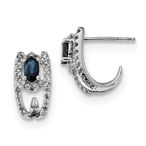 Lex & Lu 14k White Gold Diamond and Sapphire Polished J Hoop Earrings - Lex & Lu