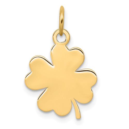 Lex & Lu 14k Yellow Gold Plain .018 Gauge Engravable Clover Disc Charm LAL126145 - Lex & Lu