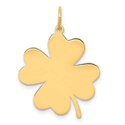 Lex & Lu 14k Yellow Gold Plain .018 Gauge Engravable Clover Disc Charm LAL126146 - Lex & Lu