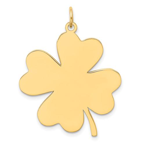 Lex & Lu 14k Yellow Gold Plain .018 Gauge Engravable Clover Disc Charm LAL126147 - Lex & Lu