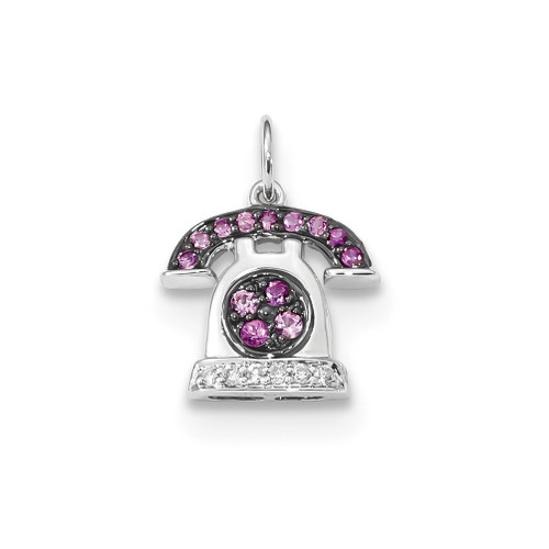 Lex & Lu 14k White Gold Diamond and Pink Sapphire Telephone Pendant - Lex & Lu