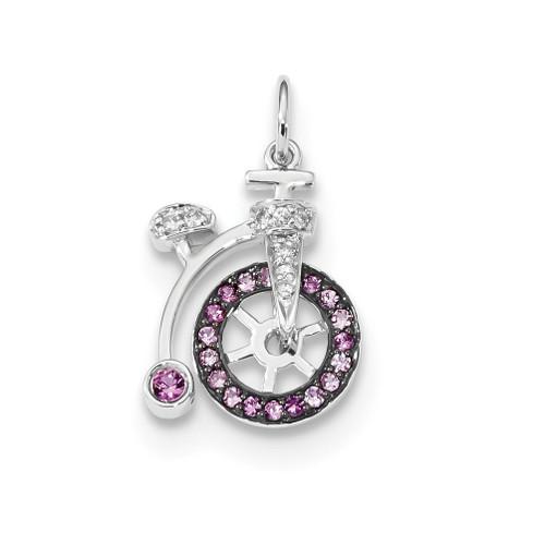 Lex & Lu 14k White Gold Diamond and Pink Sapphire Bicycle Pendant - Lex & Lu