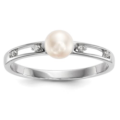 Lex & Lu 14K White Gold w/Freshwater Cultured Pearl & Diamond Ring - Lex & Lu