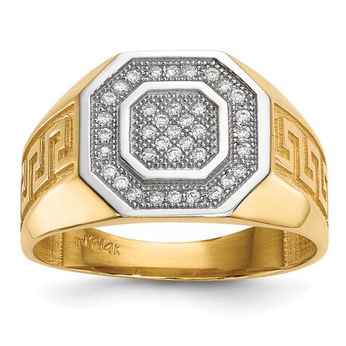 Lex & Lu 14k Yellow Gold w/Rhodium Men's Pave CZ Octagon & Greek Key Ring - Lex & Lu