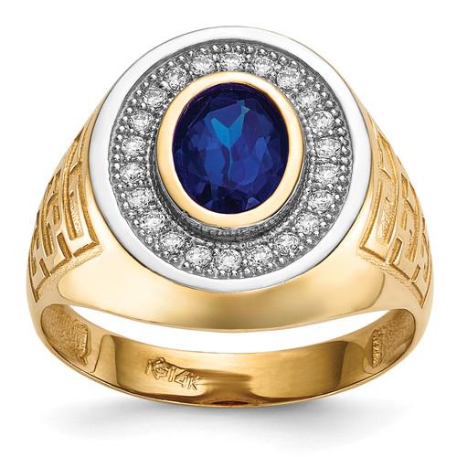 Lex & Lu 14k Yellow Gold w/Rhodium CZ & Oval Blue CZ Men's Ring Size 10 - Lex & Lu