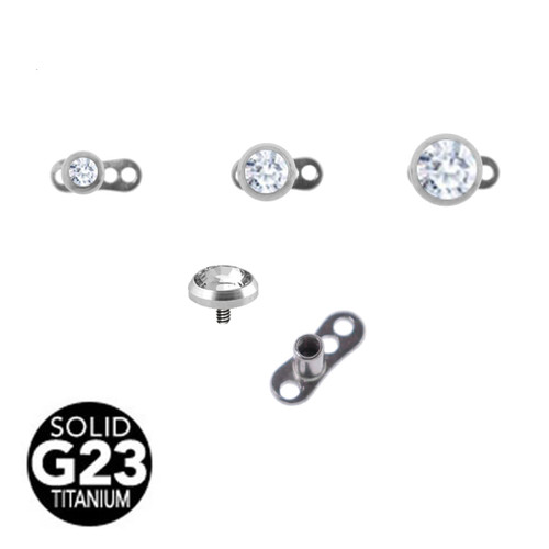 Lex & Lu Grade 23 Titanium Dermal Anchor Set w/Clear Gem-2-Lex & Lu
