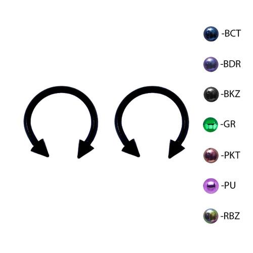 Lex & Lu Pair of Titanium Circular Barbell w/Cones Horseshoe Earrings 18-14G-2-Lex & Lu