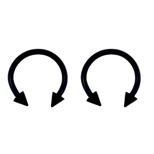Lex & Lu Pair of Titanium Circular Barbell w/Cones Horseshoe Earrings 18-14G-Lex & Lu