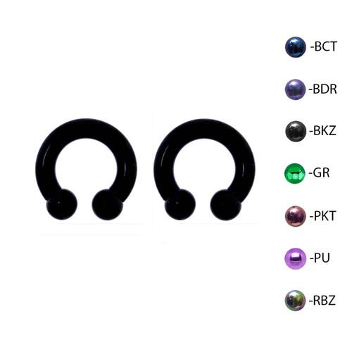 Lex & Lu Pair of Titanium Circular Barbell w/Balls Horseshoe Earrings 6-2G-2-Lex & Lu