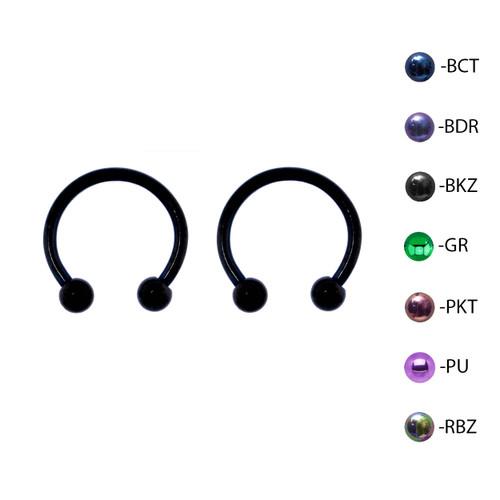 Lex & Lu Pair of Titanium Circular Barbell w/Balls Horseshoe Earrings 18-14G-2-Lex & Lu