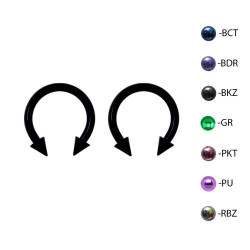 Lex & Lu Pair of Titanium Circular Barbell w/Cones Horseshoe Earrings 12-8G-2-Lex & Lu