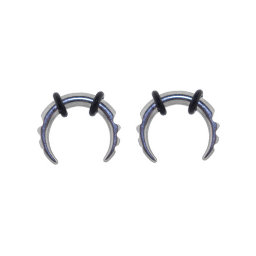 Lex & Lu Pair of Steel Notched Pincher Taper Plugs w/O-rings 12,8&6 Gauge-Lex & Lu