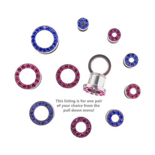 """Lex & Lu Pair of Steel Threaded Tunnel Plugs w/Colored Gems 10G Thru 1/2""""-2-Lex & Lu"""