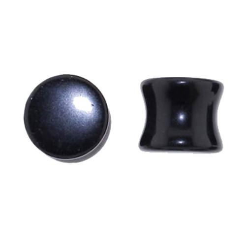 "Lex & Lu Pair of Genuine Black Agate Double Flare Stone Organic Ear Plugs 10G-1"" Gauge-Lex & Lu"