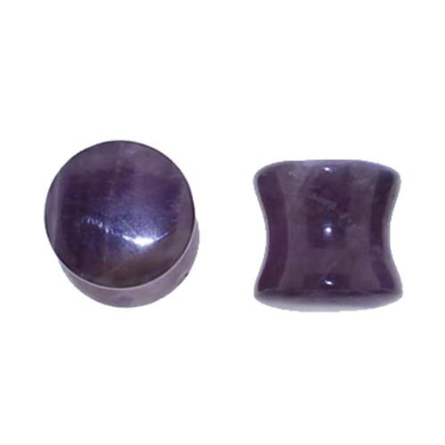 "Lex & Lu Pair of Double Flare Genuine Amethyst Stone Organic Ear Plugs 10G-1"" Gauge-Lex & Lu"