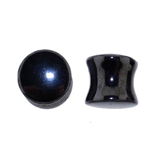 "Lex & Lu Pair of Double Flare Genuine Hematite Stone Organic Ear Plugs 6G-1"" Gauge-Lex & Lu"