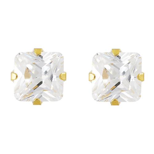 Lex & Lu Studex Sensitive Stainless Steel 7x7 Princess Cut CZ G/P Earrings-Lex & Lu