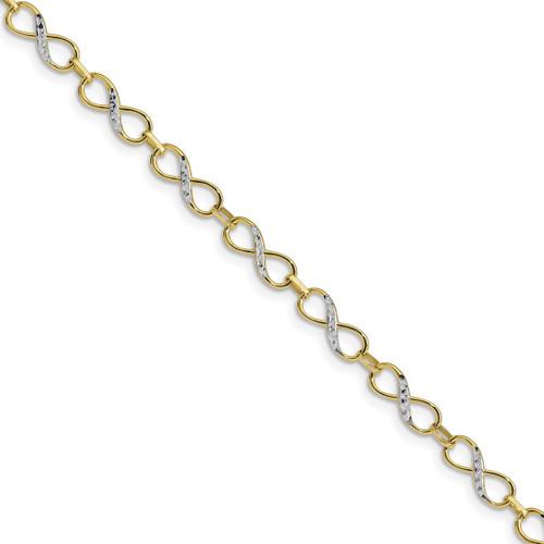 Lex & Lu Leslie's 10k Yellow Gold w/Rhodium D/C Infinity Fancy Bracelet-Lex & Lu
