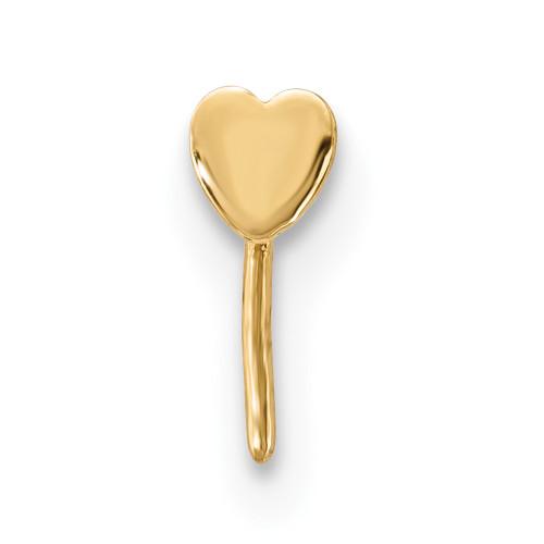 Lex & Lu 14k Yellow Gold 22 Gauge Heart Nose Stud BD107-Lex & Lu