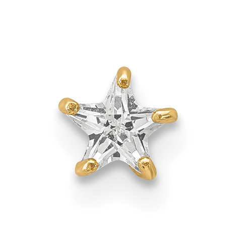 Lex & Lu 14k Yellow Gold 18 Gauge CZ Star Labret/Face Jewelry BD118-Lex & Lu