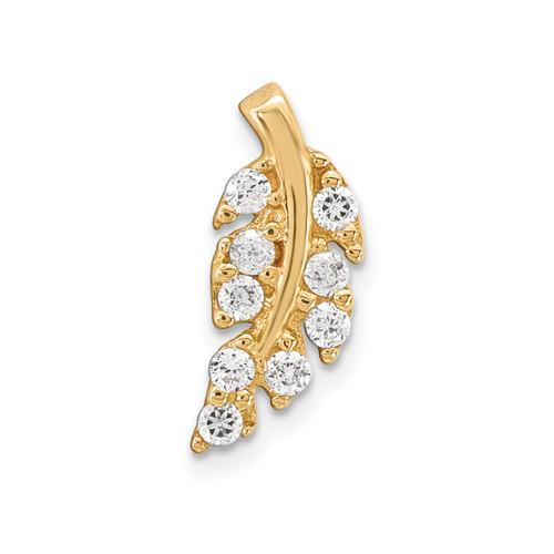 Lex & Lu 14k Yellow Gold 18 Gauge CZ Leaf Labret/ Face Jewelry BD123 - Lex & Lu