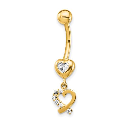 Lex & Lu 14k Yellow Gold 14 Gauge CZ 2-Hearts Dangle Belly Ring BD134 - Lex & Lu
