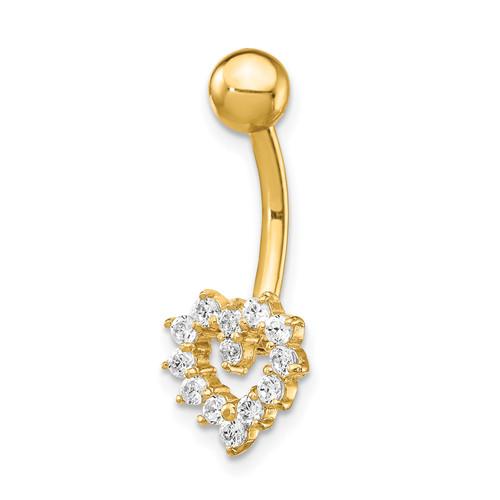 Lex & Lu 14k Yellow Gold 14 Gauge CZ Heart Belly Ring BD136 - Lex & Lu