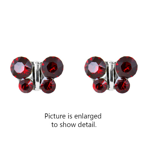 Lex & Lu Studex Sensitive Stainless Steel Butterfly Garnet CZ Earrings-2-Lex & Lu