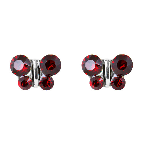 Lex & Lu Studex Sensitive Stainless Steel Butterfly Garnet CZ Earrings-Lex & Lu