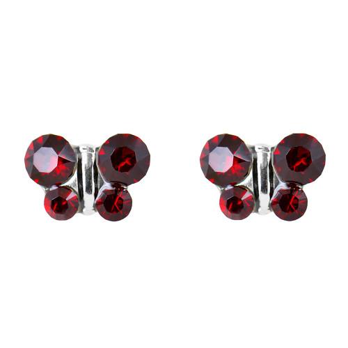 Lex & Lu Studex Sensitive Stainless Steel Butterfly Garnet CZ Earrings-Lex & Lu