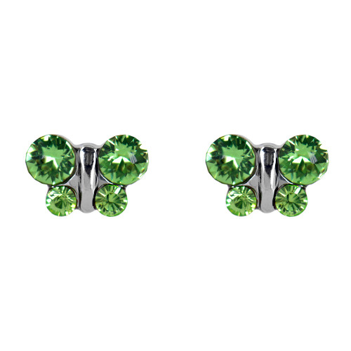 Lex & Lu Studex Sensitive Stainless Steel Butterfly Peridot CZ Earrings-Lex & Lu