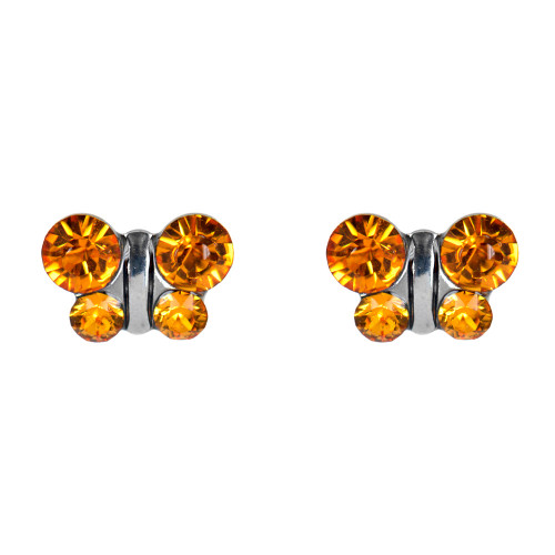 Lex & Lu Studex Sensitive Stainless Steel Butterfly Topaz CZ Earrings-Lex & Lu