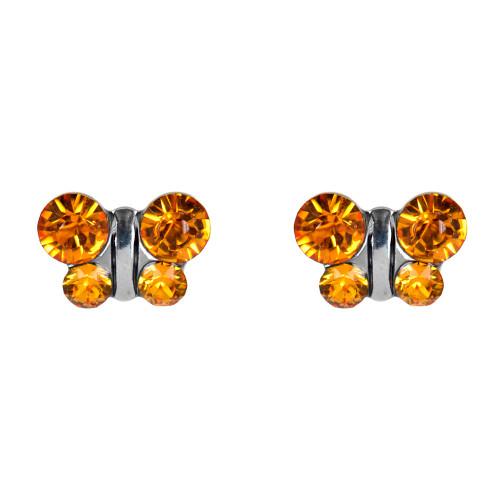 Lex & Lu Studex Sensitive Stainless Steel Butterfly Topaz CZ Earrings-Lex & Lu