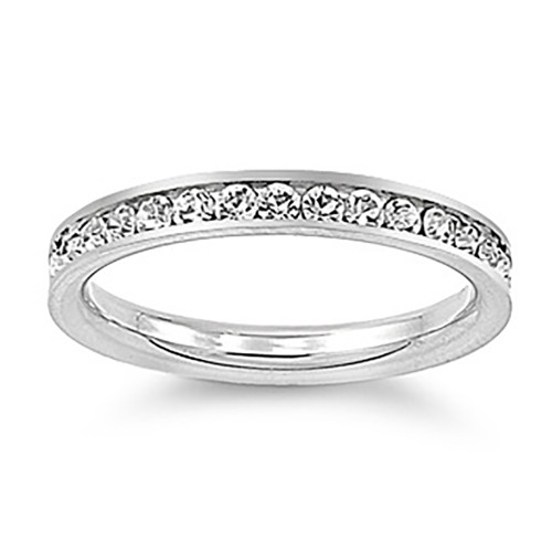 Lex & Lu 3mm Stainless Steel Clear CZ Eternity Comfort Fit Band Ring Size 3-9-Lex & Lu
