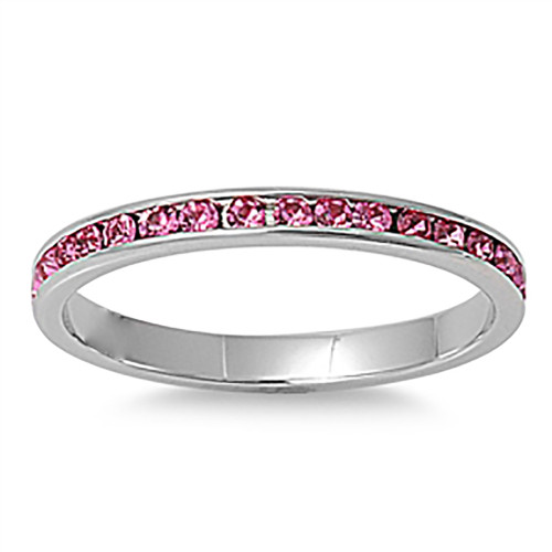 Lex & Lu 3mm Stainless Steel Pink CZ Eternity Comfort Fit Band Ring Size 3-9-Lex & Lu