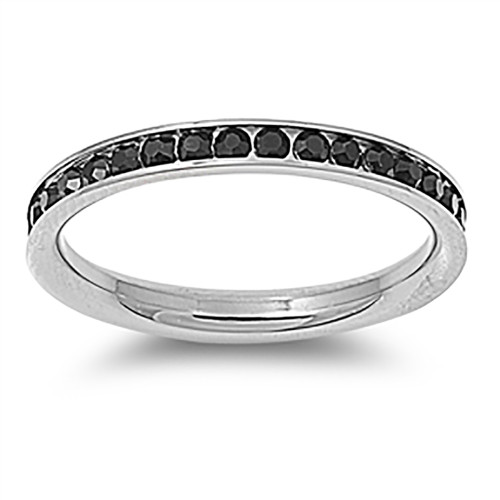 Lex & Lu 3mm Stainless Steel Black CZ Eternity Comfort Fit Band Ring Size 3-9-Lex & Lu