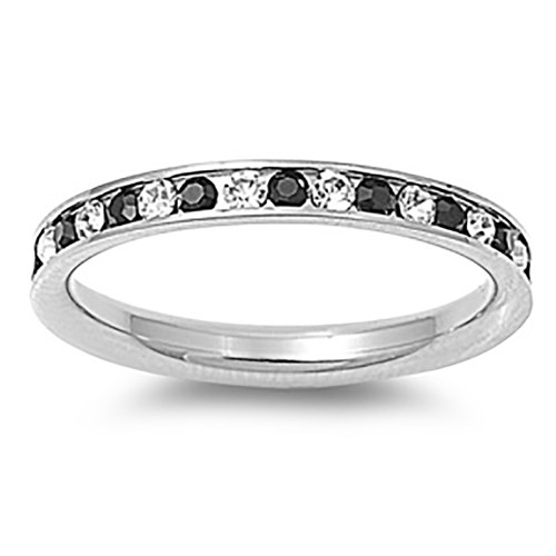 Lex & Lu 3mm Stainless Steel Clear/Black CZ Eternity Comfort Band Ring Size 3-9-Lex & Lu