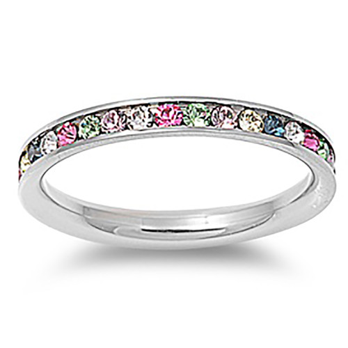 Lex & Lu 3mm Stainless Steel Multi Color CZ Eternity Comfort Band Ring Size 3-9-Lex & Lu