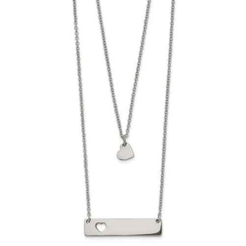 Lex & Lu Chisel Stainless Steel Polished Heart & Bar Multi-strand 15.5'' Necklace - Lex & Lu