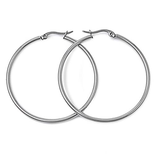 Lex & Lu Pair of Stainless Steel 2mm Hoop Earrings 25, 30, 40, 50, 60 & 70mm-Lex & Lu