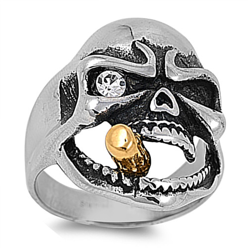 Lex & Lu Men's Fashion Stainless Steel Skull Biker Ring w/Sm Gem Eye and Cigar-Lex & Lu