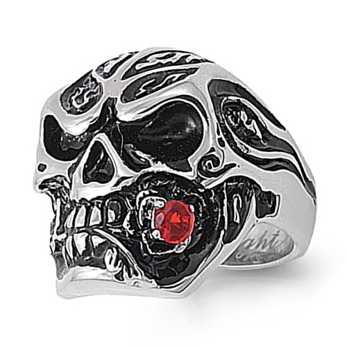 Lex & Lu Men's Fashion Stainless Steel Skull Biker Ring w/Red Rose in Mouth-Lex & Lu