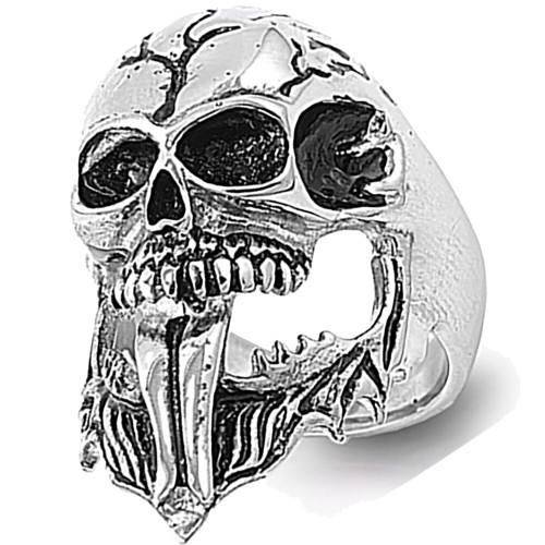 Lex & Lu Men's Fashion Stainless Steel Skull Biker Ring w/Tongue Sticking Out-Lex & Lu