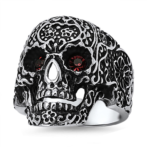 Lex & Lu Men's Fashion Stainless Steel Skull Biker Ring w/Red Gem Eyes-Lex & Lu