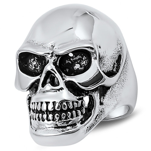 Lex & Lu Men's Fashion Stainless Steel Skull Biker Ring w/Black Eyes-Lex & Lu